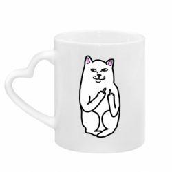 Кружка с ручкой в виде сердца Кот с факом