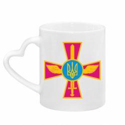 Кружка с ручкой в виде сердца Крест з мечем та гербом