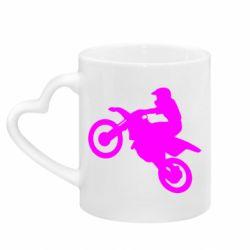 Кружка с ручкой в виде сердца Кроссовый мотоцикл