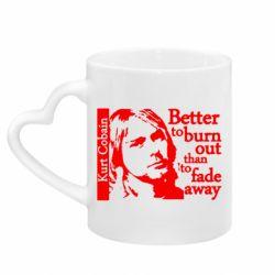 Кружка с ручкой в виде сердца Kurt Cobain