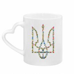 Кружка с ручкой в виде сердца Квітучий герб України