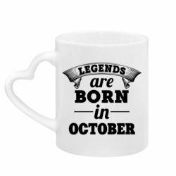 Кружка с ручкой в виде сердца Legends are born in October