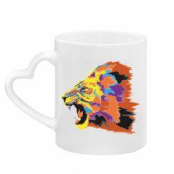 Кружка с ручкой в виде сердца Lion multicolor