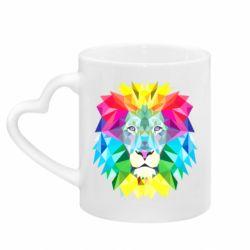 Кружка с ручкой в виде сердца Lion vector