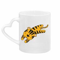 Кружка с ручкой в виде сердца Little striped tiger