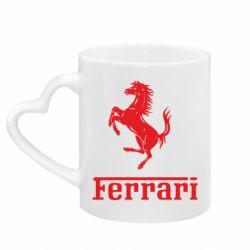 Кружка с ручкой в виде сердца логотип Ferrari