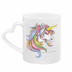 Кружка з ручкою у вигляді серця Кінь з кольоровою гривою