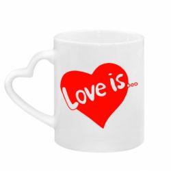 Кружка з ручкою у вигляді серця любов-це...