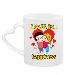 Кружка з ручкою у вигляді серця love is...happyness