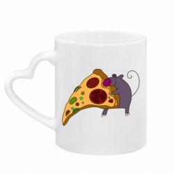 Кружка с ручкой в виде сердца Love Pizza 2