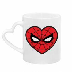 Кружка з ручкою у вигляді серця Love spider man