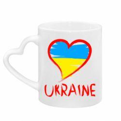 Кружка з ручкою у вигляді серця Love Ukraine