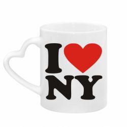 Кружка з ручкою у вигляді серця Люблю Нью Йорк