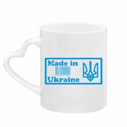 Кружка з ручкою у вигляді серця Made in Ukraine штрих-код