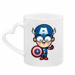 Кружка с ручкой в виде сердца Маленький Капитан Америка