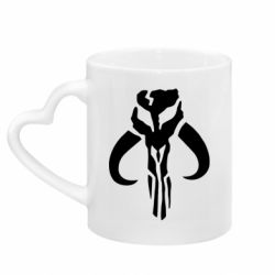 Кружка с ручкой в виде сердца Mandalorian emblem