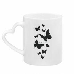 Кружка з ручкою у вигляді серця Many butterflies