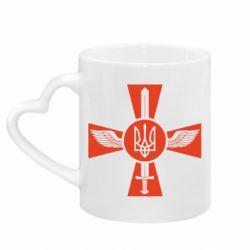 Кружка с ручкой в виде сердца Меч, крила та герб