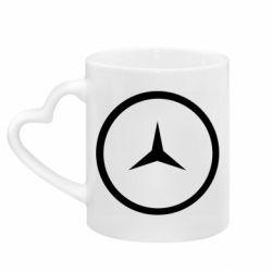 Кружка с ручкой в виде сердца Mercedes new logo