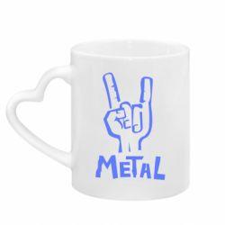 Кружка с ручкой в виде сердца Metal