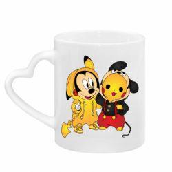Кружка с ручкой в виде сердца Mickey and Pikachu