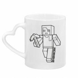 Кружка с ручкой в виде сердца Minecraft and hero nickname