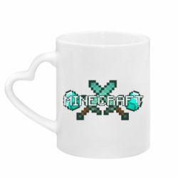 Кружка з ручкою у вигляді серця Minecraft алмазний меч