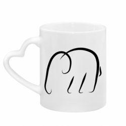 Кружка с ручкой в виде сердца Minimalistic elephant