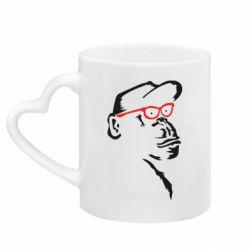 Кружка з ручкою у вигляді серця Monkey in red glasses