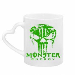 Кружка с ручкой в виде сердца Monster Energy Череп