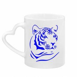 Кружка с ручкой в виде сердца Морда тигра