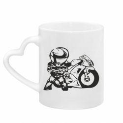 Кружка с ручкой в виде сердца Мотоциклист