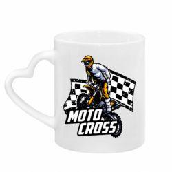 Кружка с ручкой в виде сердца Motocross