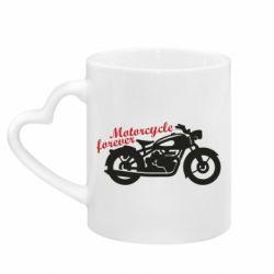 Кружка з ручкою у вигляді серця Motorcycle forever