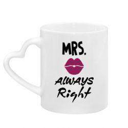 Кружка з ручкою у вигляді серця Mrs. always right