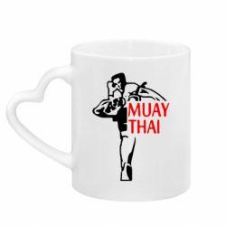 Кружка з ручкою у вигляді серця Muay Thai kick