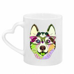 Кружка з ручкою у вигляді серця Multi-colored dog with glasses