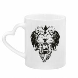 Кружка с ручкой в виде сердца Muzzle of a lion