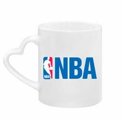 Кружка с ручкой в виде сердца NBA Logo