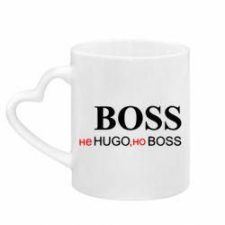 Кружка з ручкою у вигляді серця Не Hugo, але Boss