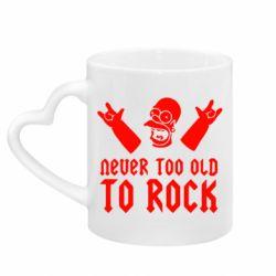 Кружка с ручкой в виде сердца Never old to rock (Gomer)