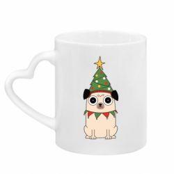 Кружка з ручкою у вигляді серця New Year's Pug