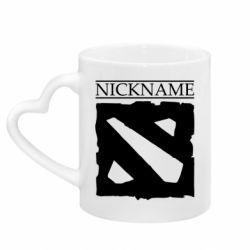 Кружка с ручкой в виде сердца Nickname Dota