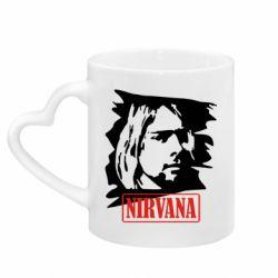 Кружка с ручкой в виде сердца Nirvana Kurt Cobian