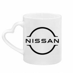 Кружка з ручкою у вигляді серця Nissan new logo