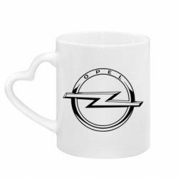 Кружка з ручкою у вигляді серця Opel logo