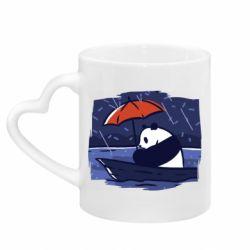 Кружка с ручкой в виде сердца Panda and rain