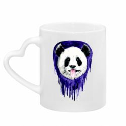 Кружка с ручкой в виде сердца Panda on a watercolor stain