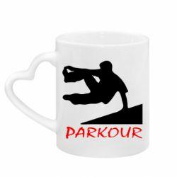 Кружка с ручкой в виде сердца Parkour Run