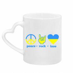 Кружка с ручкой в виде сердца Peace, Rock, Love
